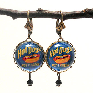Hot Dog earrings created for the Coney Island Exhibit at the Wadsworth Atheneum Museum in Hartford, CT
