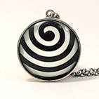 "28mm Round ""Wave"" Antiqued Sterling Silver"