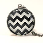 Fauxhemian Black Zig Zag Sterling Silver 20mm Necklace