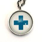 Fauxhemian Blue Swiss Cross 22mm Sterling Silver Necklace