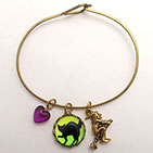 Black Cat with Witch Charm Bracelet
