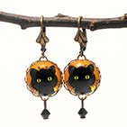 Green Eyed Cat Earrings