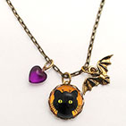 Green Eyed Cat with BAt Charm and Purple Heart Bead BraceletGreen Eyed Cat with BAt Charm and Purple Heart Bead Necklace