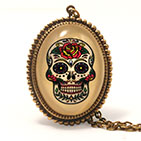 Calavera, Sugar Skull Day of the Dead necklace