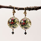 "18mm Round ""Deck The Halls"" Holly Earrings"""