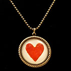 Vintage Red Heart 25mm Round Necklace