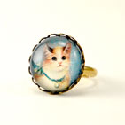 Blue Kitty Round Ring
