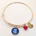 Blue Anchor Scallop Shell Bracelet or Necklace