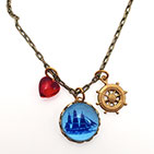 Sailing Ship with Captain's Wheel Necklace or Bracelet