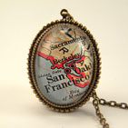 Old San Francisco Map Necklace