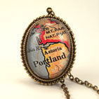 Old Portland, Oregon Map Necklace