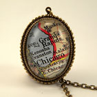 Old Chicago Map Necklace