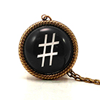 Hash Tag - Pound Black Necklace