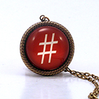 Hash Tag - Pound Red Necklace